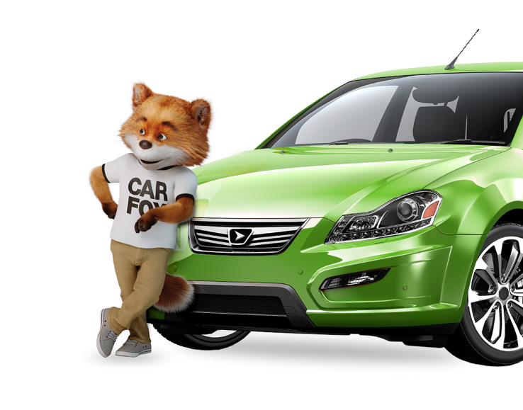 CARFAX Canada CARFOX casually leaning with his elbow against a lime green sedan.
