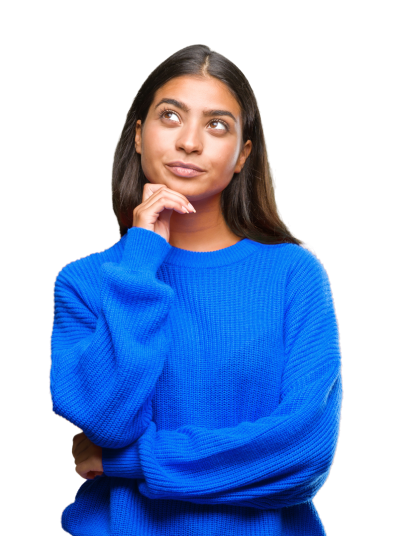 Women in blue sweater with one arm folded and hand on chin contemplating purchasing a CARFAX Canada Vehicle History Report.