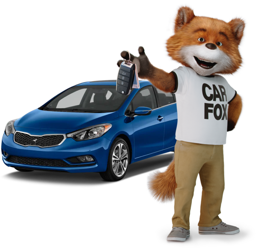 CARFAX Canada's mascot, CAR FOX, holding keys while standing in front of a royal blue four door sedan.